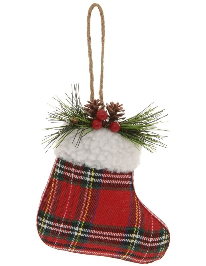 Heirloom Stuffed Plaid Stocking Hanging Ornament image 1