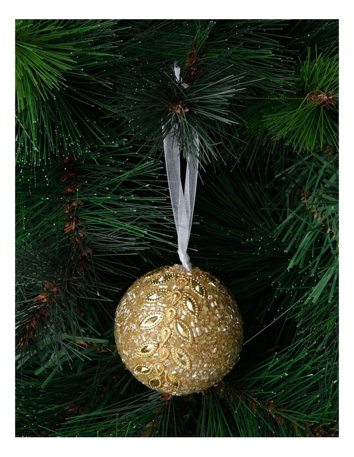 Luxe Gold Glitter Leaf Bauble image 3