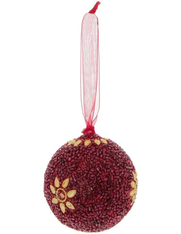 Heirloom Red Glitter Star Bauble image 1