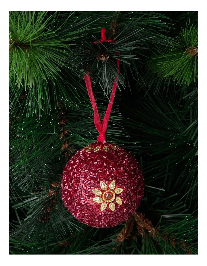 Heirloom Red Glitter Star Bauble image 3