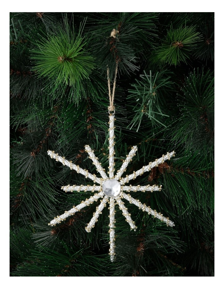 Luxe Beaded Wire Snowflake Ornament image 3