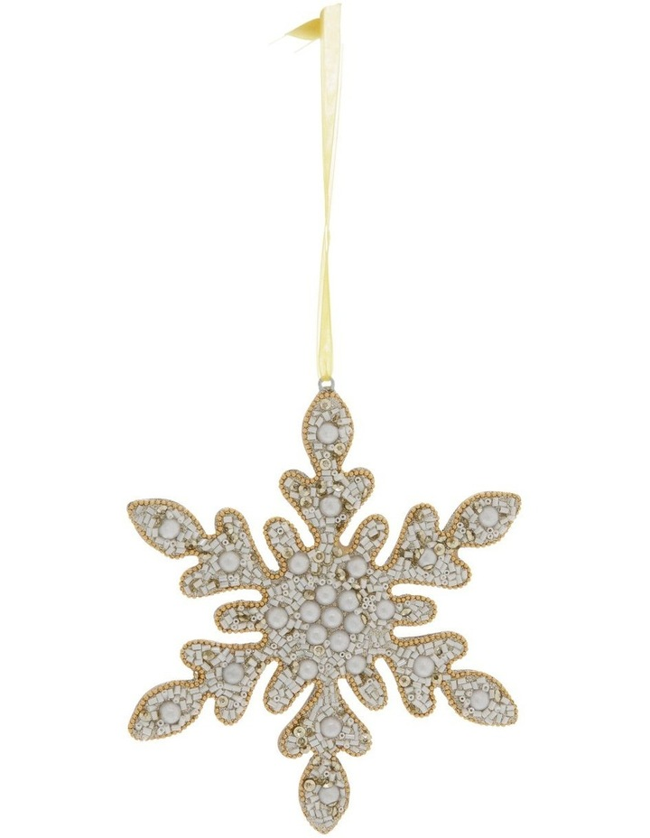Luxe Beaded Pearl Snowflake Hanging Ornament image 1