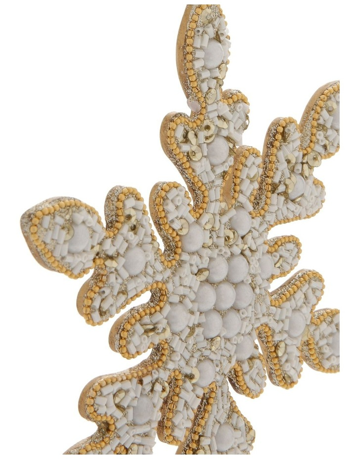 Luxe Beaded Pearl Snowflake Hanging Ornament image 2