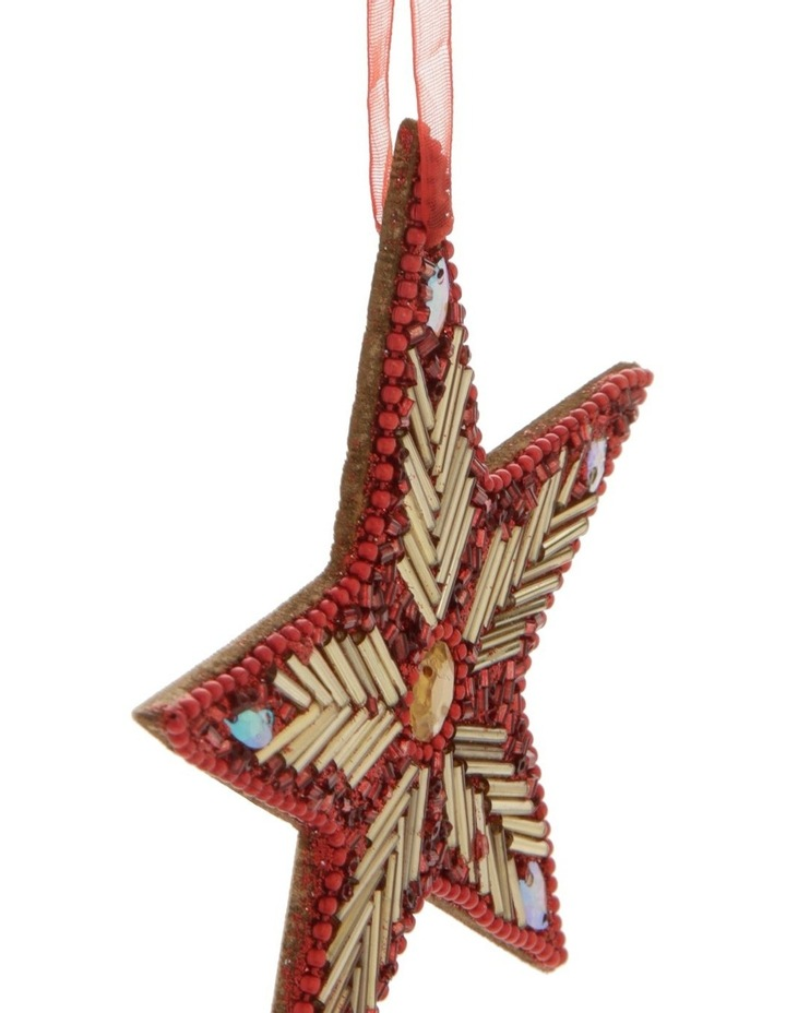 Heirloom Red Beaded Star Hanging Ornament image 2
