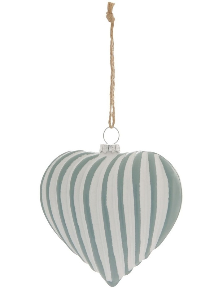 Eucalyptus Two-Tone Ribbed Heart Hanging Ornament image 1