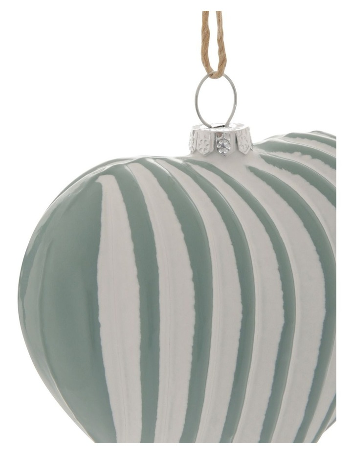 Eucalyptus Two-Tone Ribbed Heart Hanging Ornament image 2