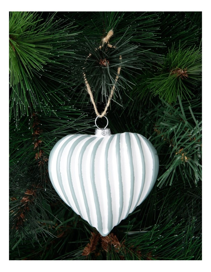 Eucalyptus Two-Tone Ribbed Heart Hanging Ornament image 3