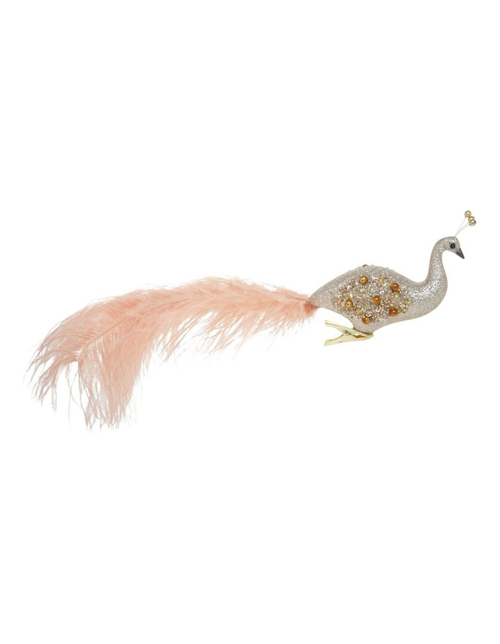 Luxe Glitter Peacock Clip Ornament with Faux Feather Tail image 1
