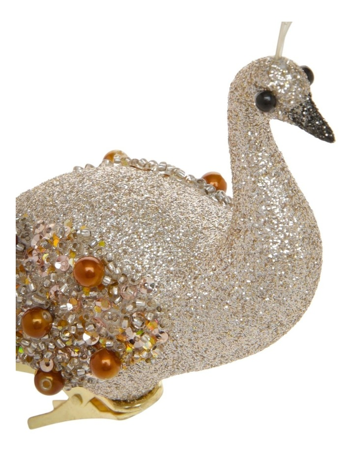 Luxe Glitter Peacock Clip Ornament with Faux Feather Tail image 2
