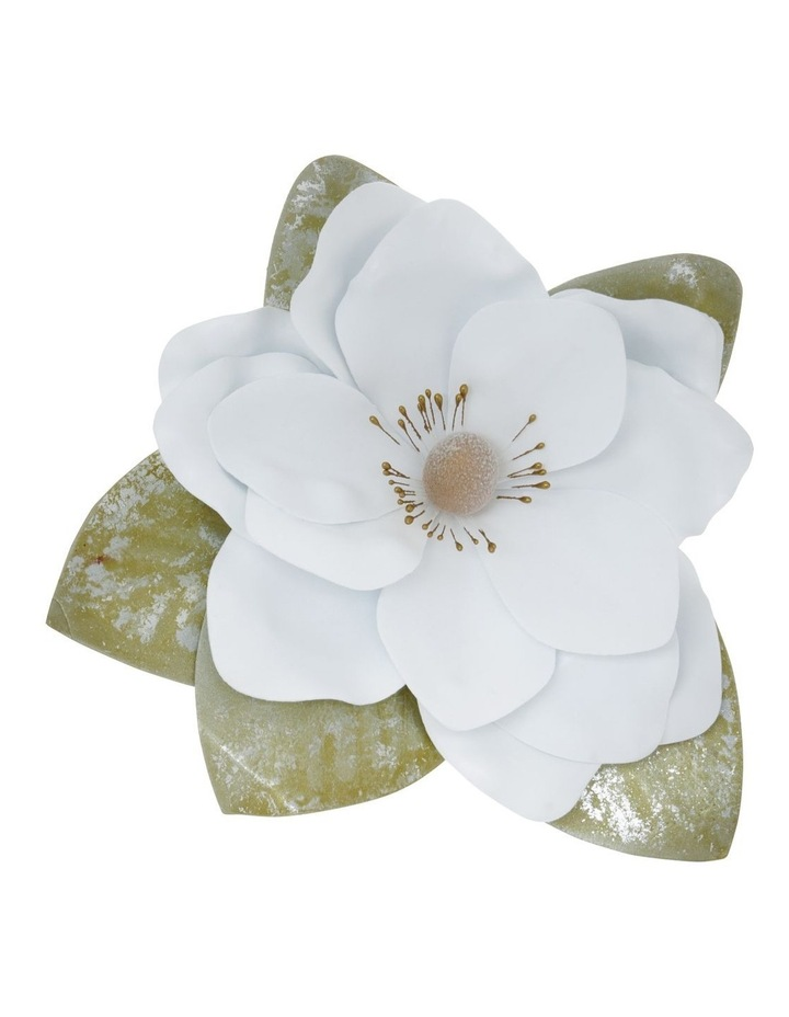Luxe Faux White Magnolia Flower with Leaves Clip Ornament image 1