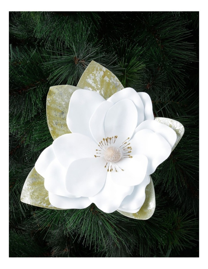 Luxe Faux White Magnolia Flower with Leaves Clip Ornament image 2