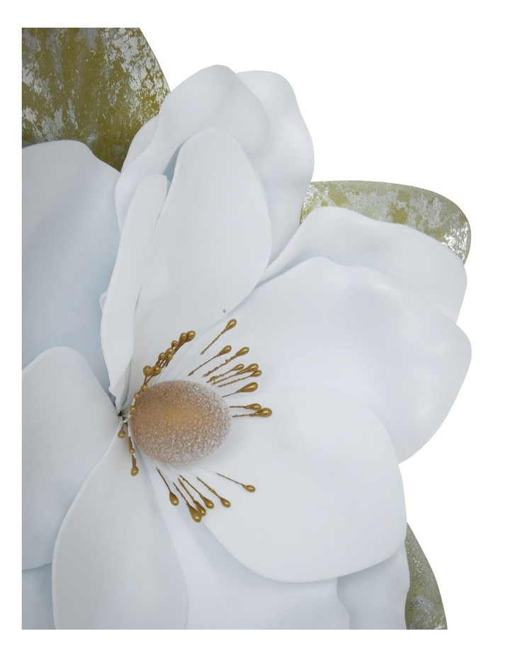 Luxe Faux White Magnolia Flower with Leaves Clip Ornament image 3