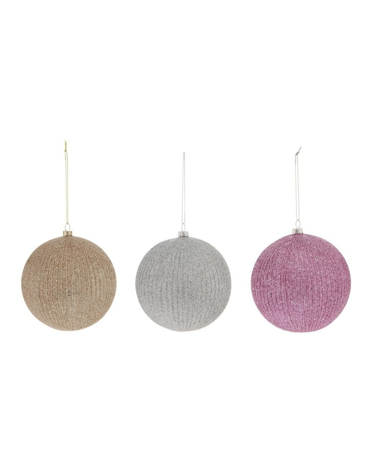 Luxe Assorted Striped Glitter Baubles image 1