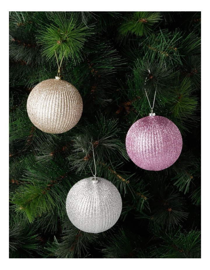 Luxe Assorted Striped Glitter Baubles image 3
