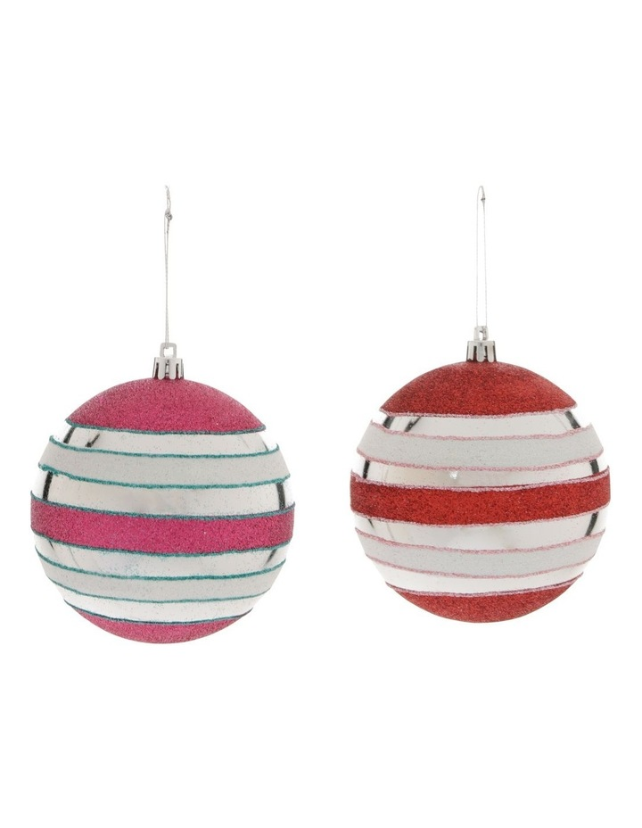 Merry & Bright Assorted Multi-Finish Striped Baubles image 1