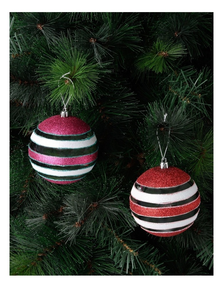 Merry & Bright Assorted Multi-Finish Striped Baubles image 2