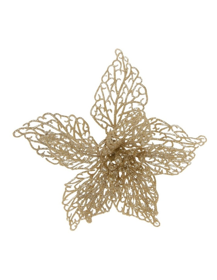 20 cm Luxe Glittered Lace Poinsettia Clip image 1