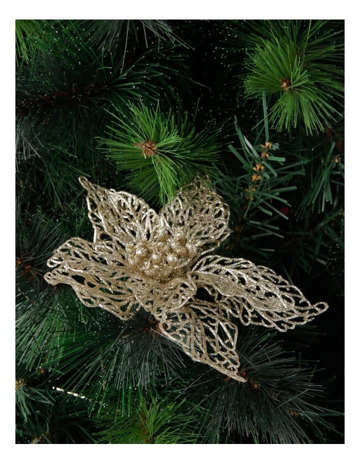 20 cm Luxe Glittered Lace Poinsettia Clip image 3