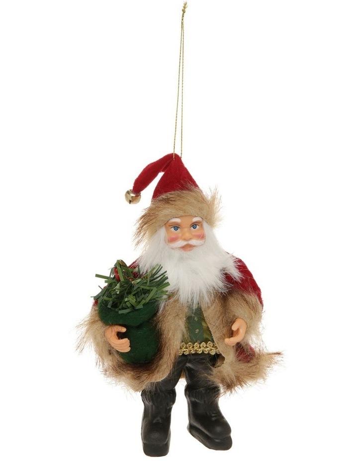 Heirloom Fabric Santa in Coat Hanging Ornament image 1