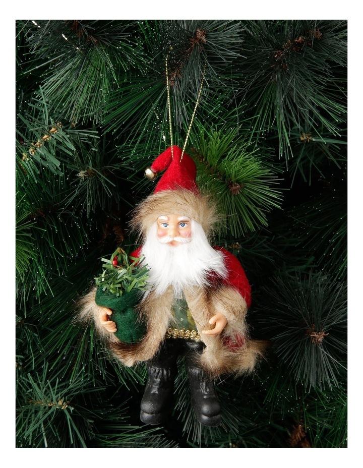 Heirloom Fabric Santa in Coat Hanging Ornament image 3