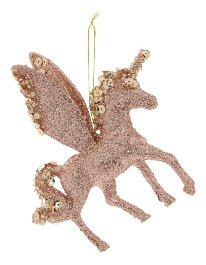 Luxe Plastic Glitter Winged Unicorn Hanging Ornament- Pink: 13 cm image 1