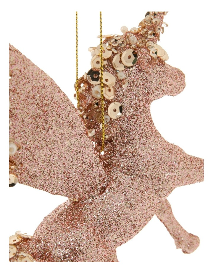 Luxe Plastic Glitter Winged Unicorn Hanging Ornament- Pink: 13 cm image 2