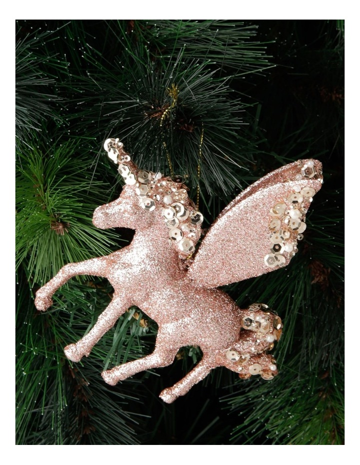Luxe Plastic Glitter Winged Unicorn Hanging Ornament- Pink: 13 cm image 3
