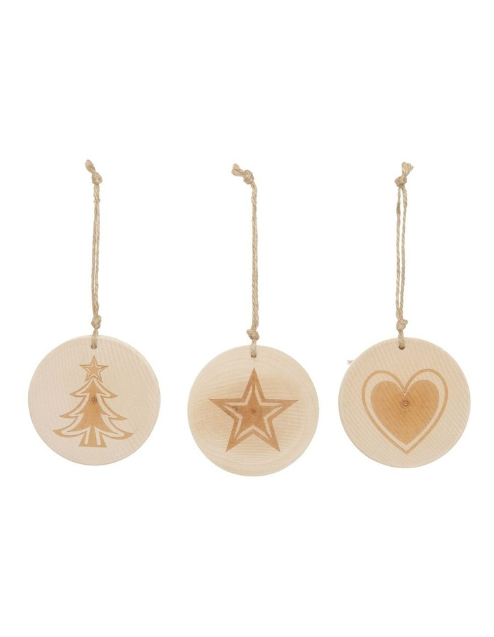Eucalyptus Assorted Wooden Stamped Hanging Ornament- Natural: 7 cm image 1