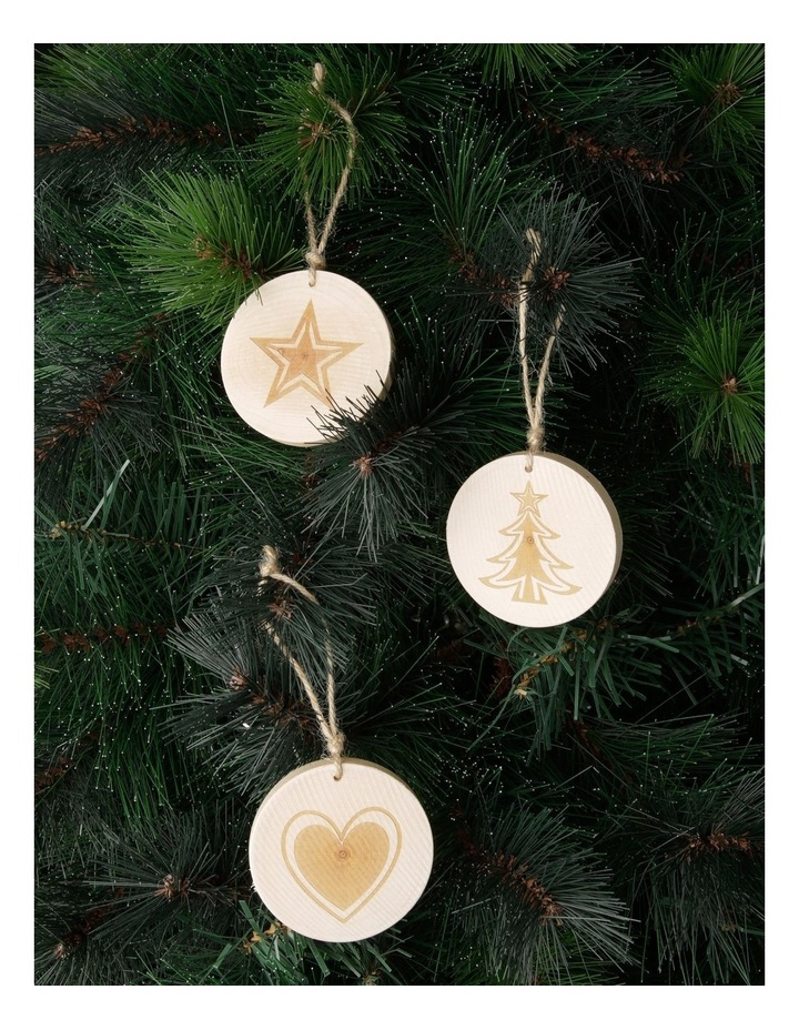 Eucalyptus Assorted Wooden Stamped Hanging Ornament- Natural: 7 cm image 2