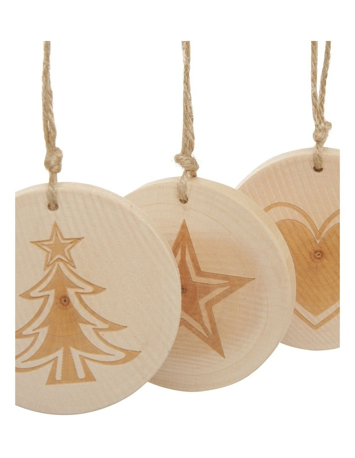 Eucalyptus Assorted Wooden Stamped Hanging Ornament- Natural: 7 cm image 3