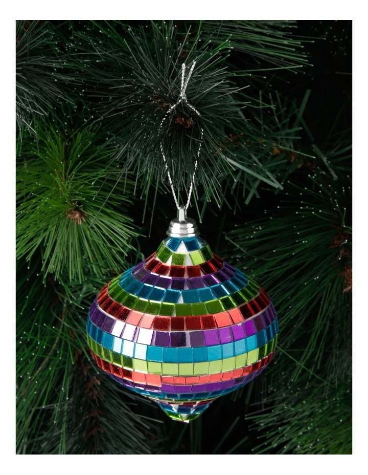 Merry & Bright Mirrored Rainbow Onion Bauble Ornament- Multi: 8cm image 2