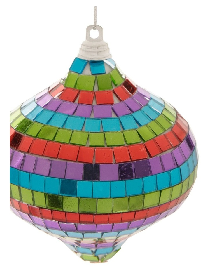 Merry & Bright Mirrored Rainbow Onion Bauble Ornament- Multi: 8cm image 3