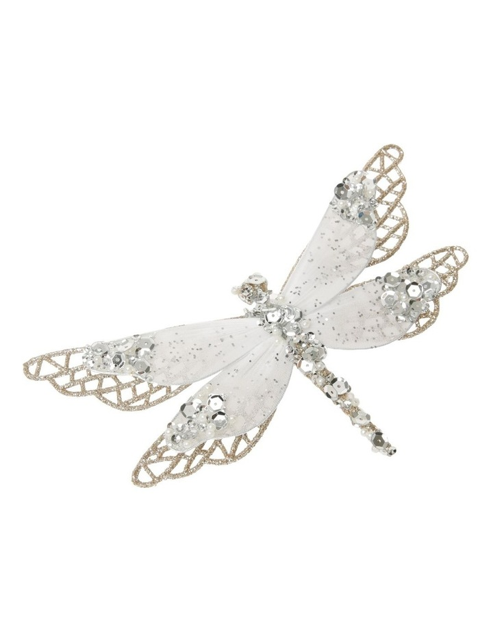 Luxe Glittered Mesh & Fabric Dragonfly Clip - Gold: 6.5 cm image 1
