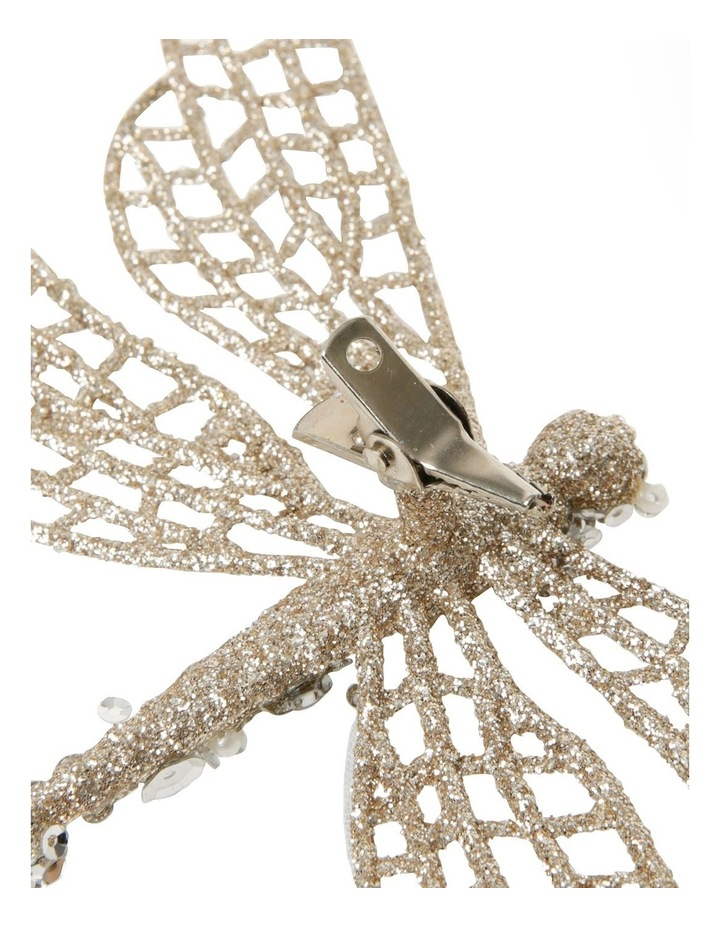 Luxe Glittered Mesh & Fabric Dragonfly Clip - Gold: 6.5 cm image 3