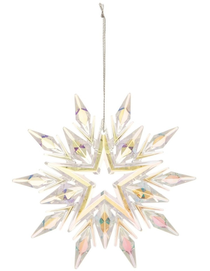 Luxe Plastic Iridescent Snowflake Hanging Ornament: 11cm image 1