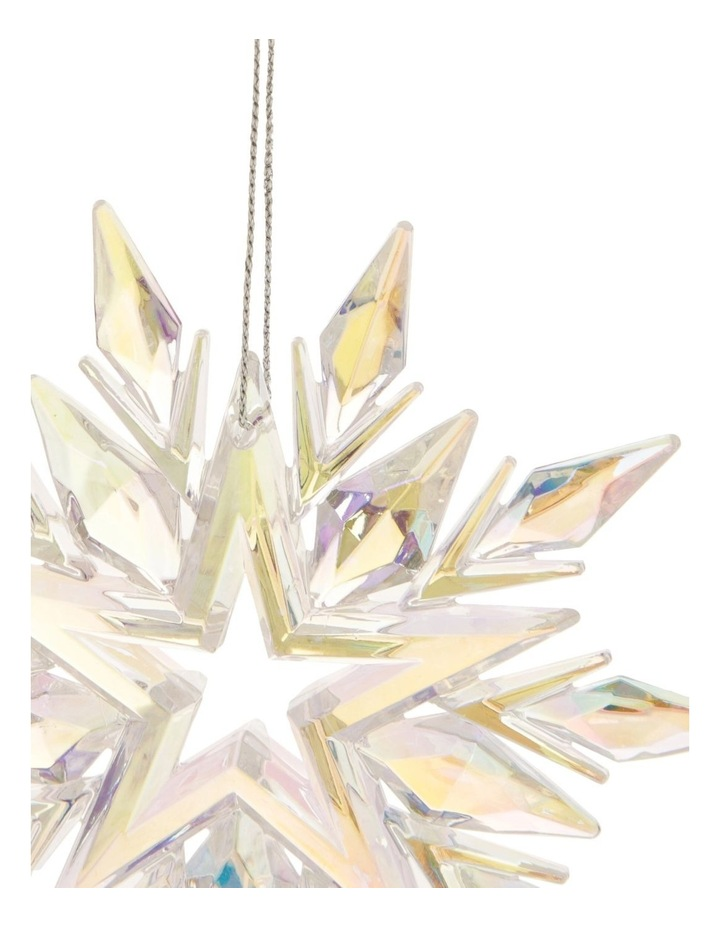 Luxe Plastic Iridescent Snowflake Hanging Ornament: 11cm image 2