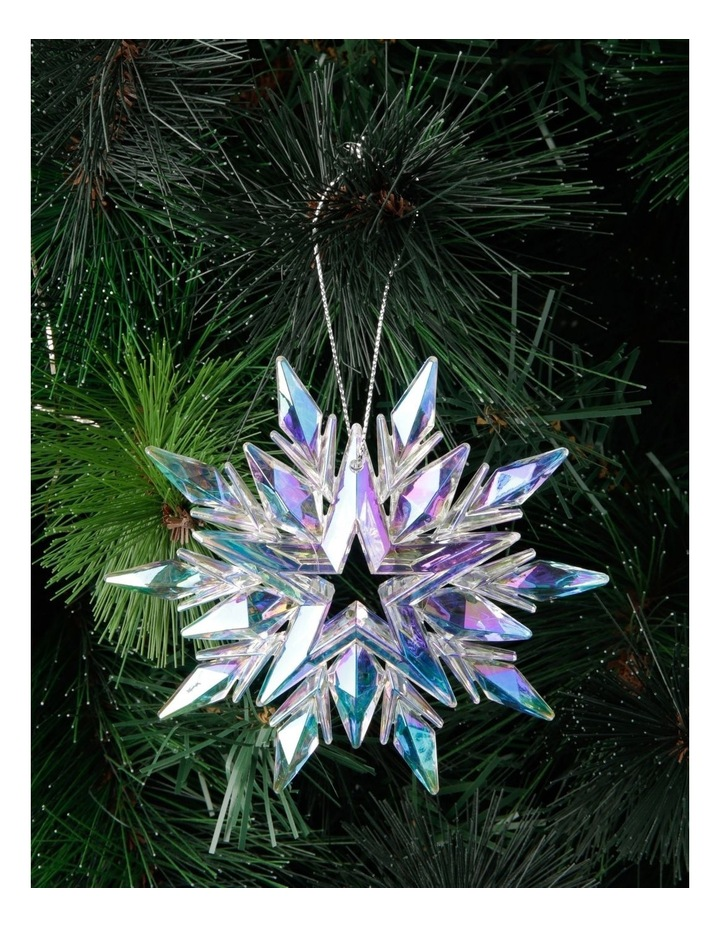 Luxe Plastic Iridescent Snowflake Hanging Ornament: 11cm image 3
