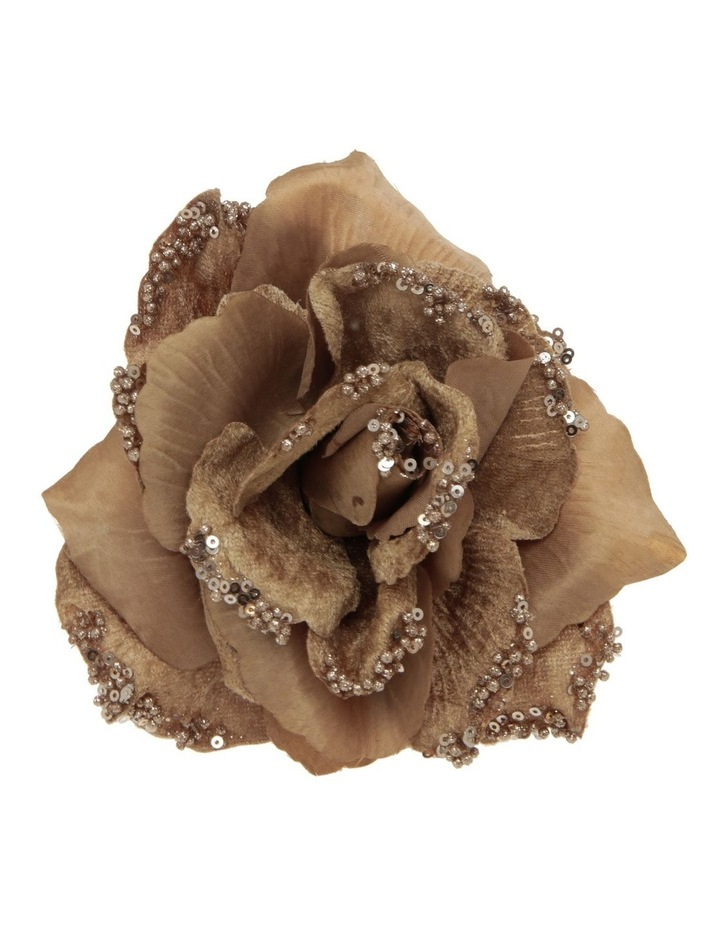 Luxe Champagne Fabric & Glitter Rose Clip image 1