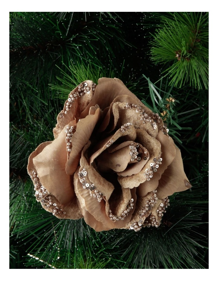 Luxe Champagne Fabric & Glitter Rose Clip image 3