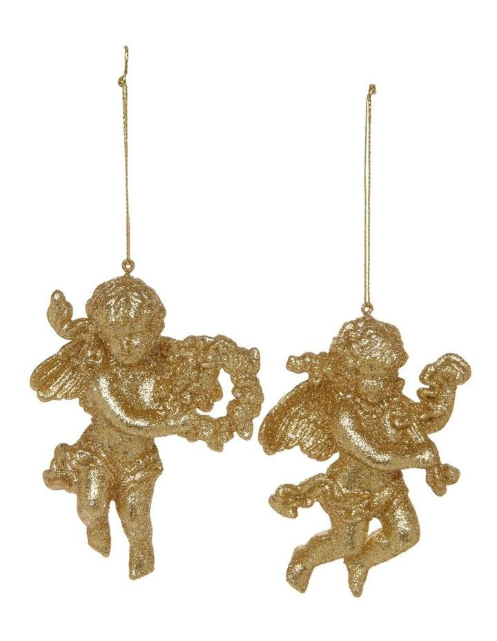 Heirloom Assorted Acrylic Glittered Cherubs Hanging Decoration image 1