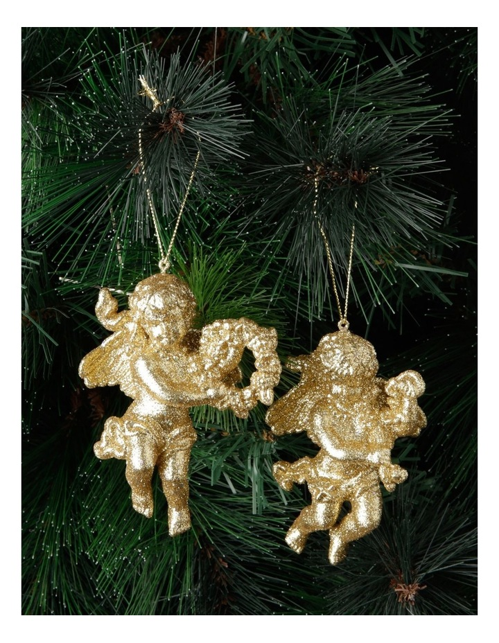 Heirloom Assorted Acrylic Glittered Cherubs Hanging Decoration image 3