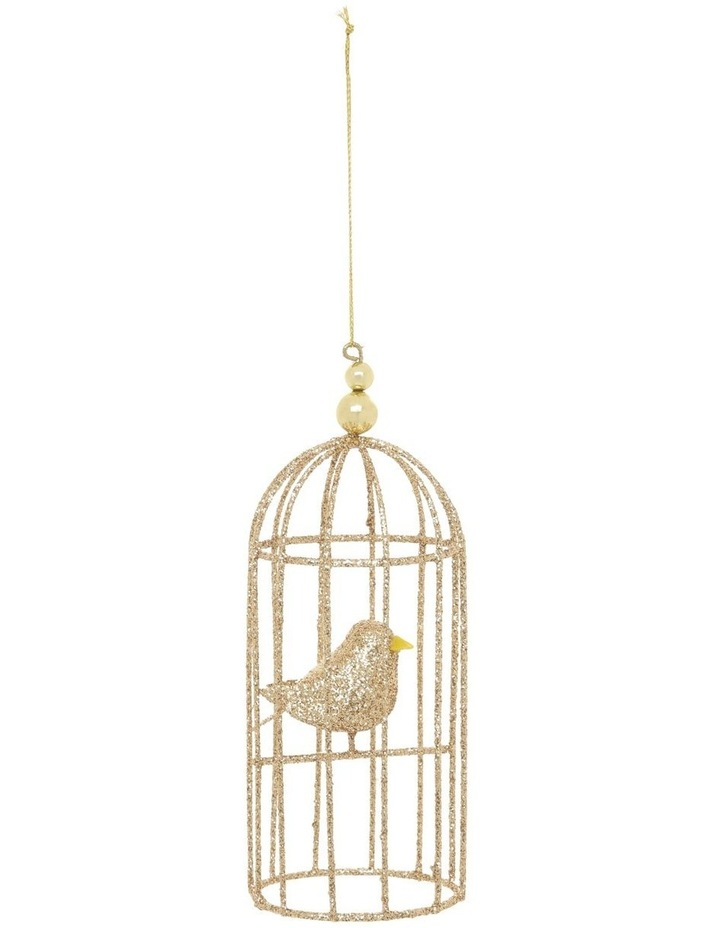 Luxe Champagne Glittered Wire Birdcage Hanging Ornament image 1