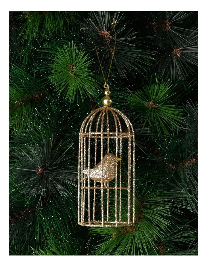 Luxe Champagne Glittered Wire Birdcage Hanging Ornament image 2