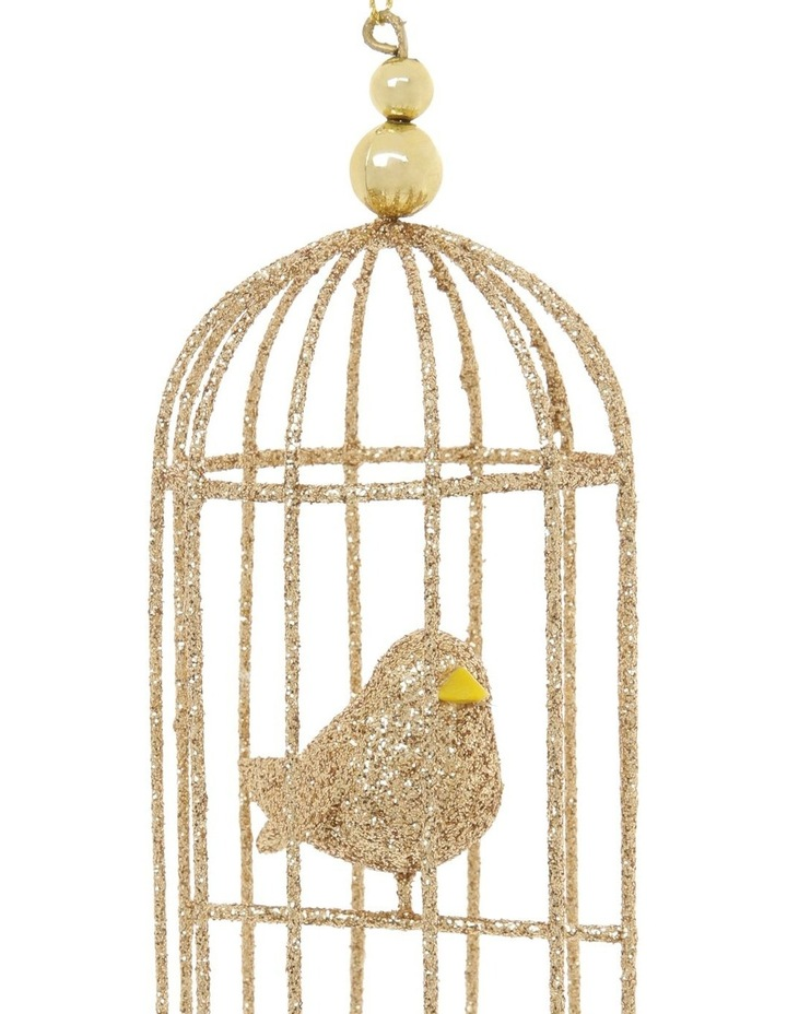 Luxe Champagne Glittered Wire Birdcage Hanging Ornament image 3