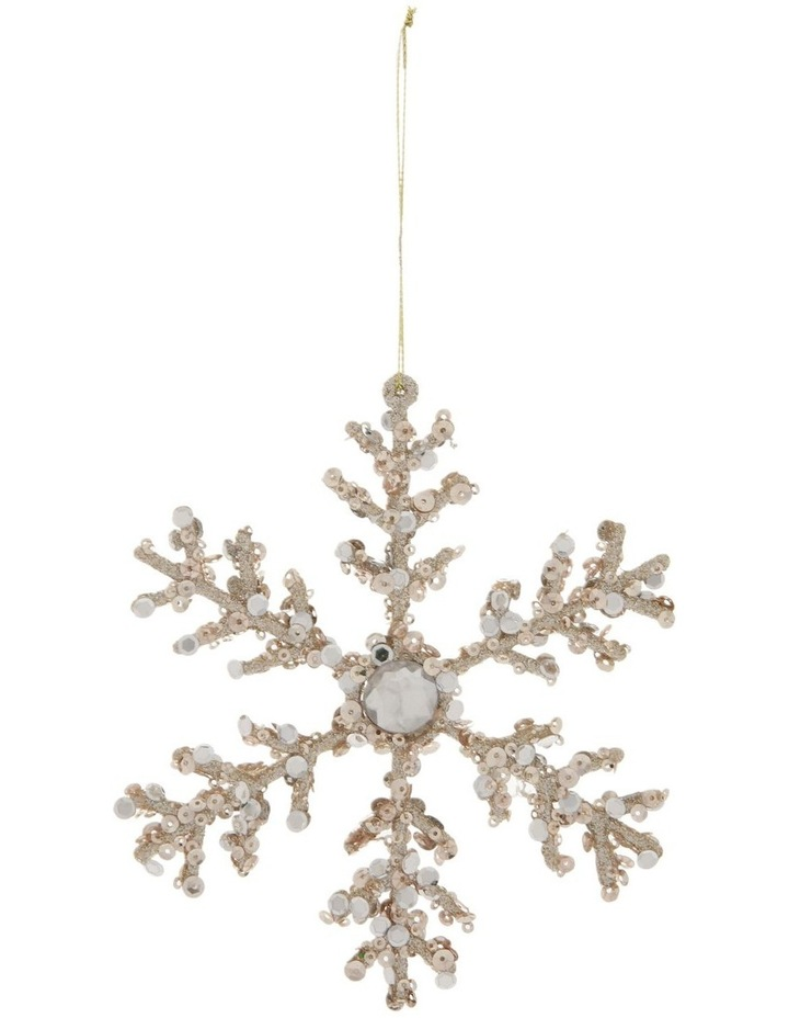 Luxe Champagne Beaded Snowflake Hanging Ornament image 1