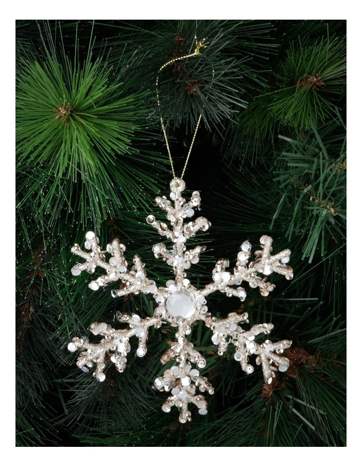 Luxe Champagne Beaded Snowflake Hanging Ornament image 3