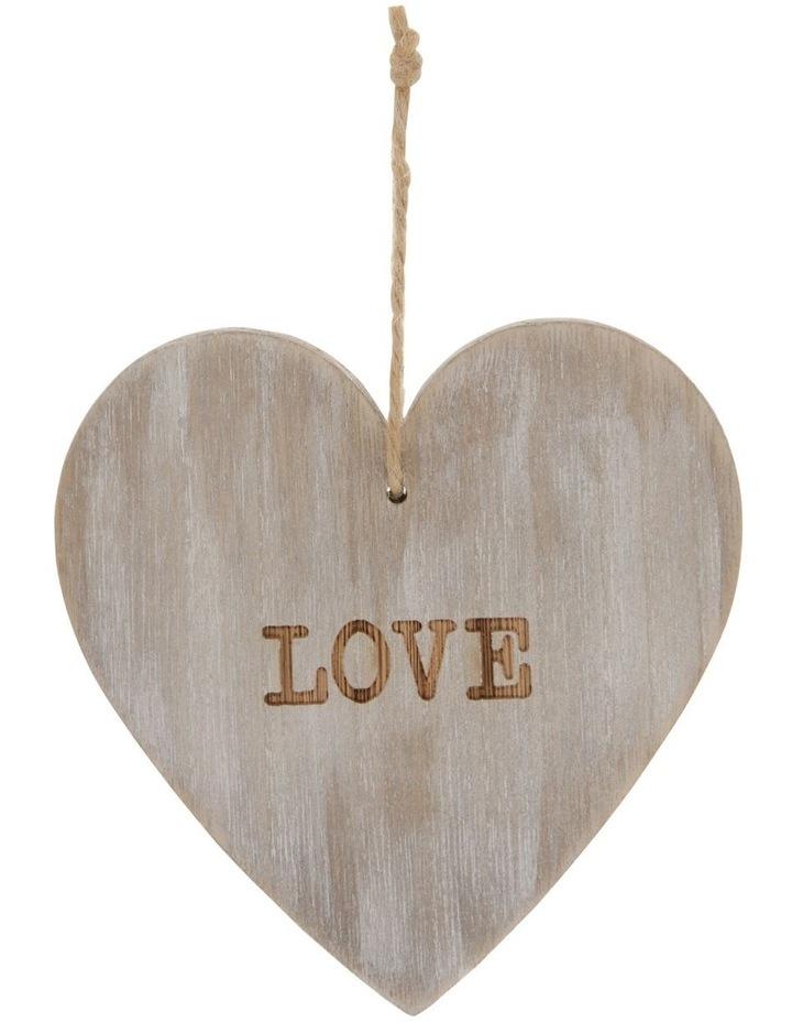 Eucalyptus Whitewashed Wood 'LOVE' Heart Hanging Ornament image 1