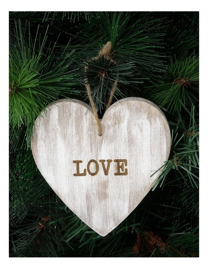 Eucalyptus Whitewashed Wood 'LOVE' Heart Hanging Ornament image 3