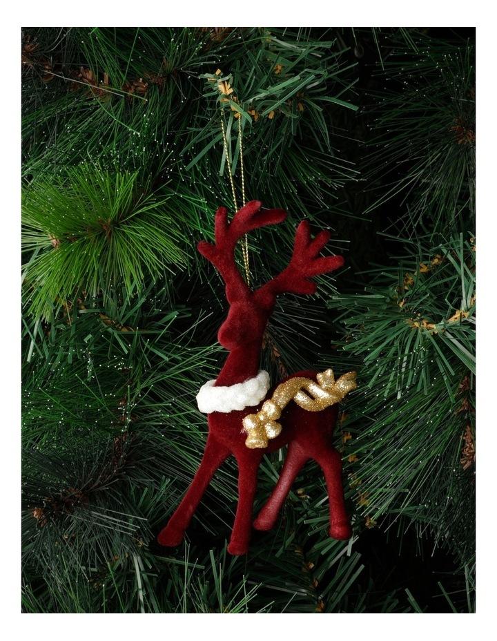 Heirloom Velvet Reindeer Ornament- Red: 15cm image 1