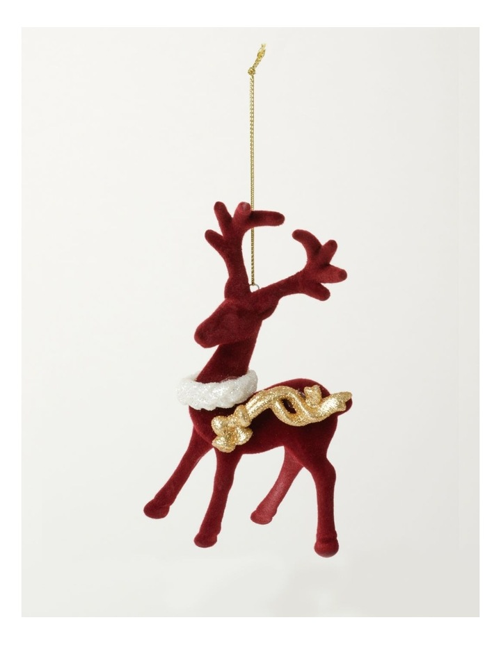 Heirloom Velvet Reindeer Ornament- Red: 15cm image 2